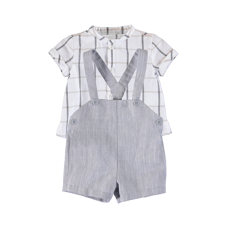 MAYORAL NEWBORN 1214 GREY SHORTS WITH SUSPENDERS SET