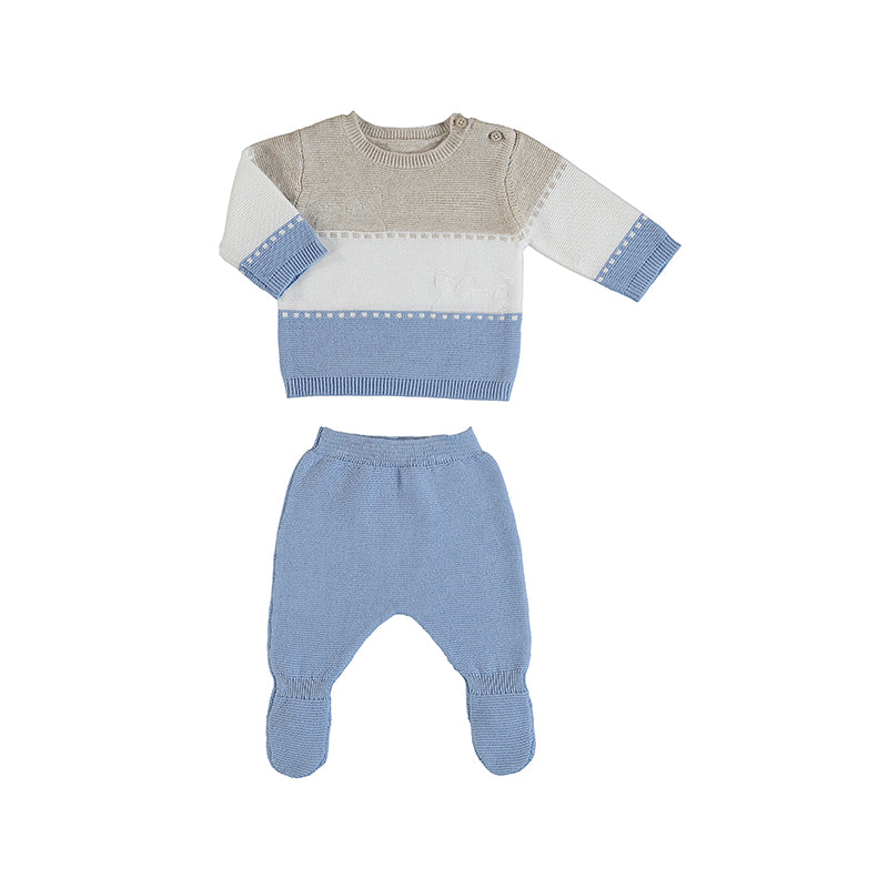 MAYORAL NEWBORN 1565 LIGHT BLUE KNIT LEG WARMER SET