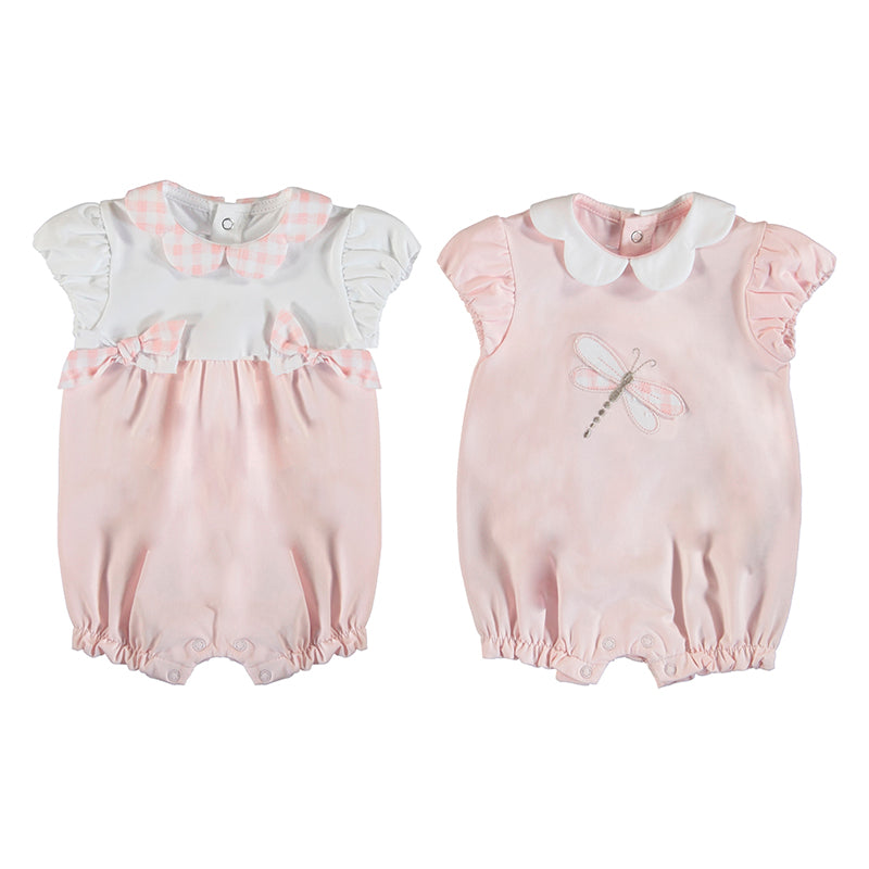 MAYORAL NEWBORN 1606 CANDY SET OF 2 SHORT ROMPERS