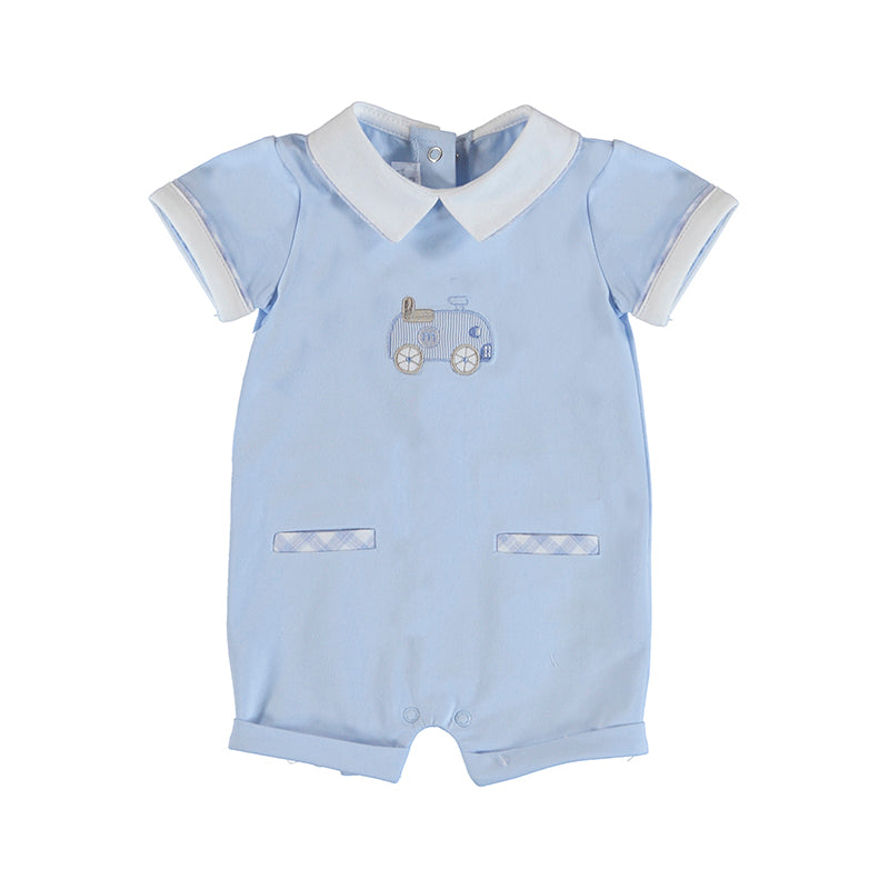 MAYORAL NEWBORN 1623 SKY KNIT SHORT OVERALL