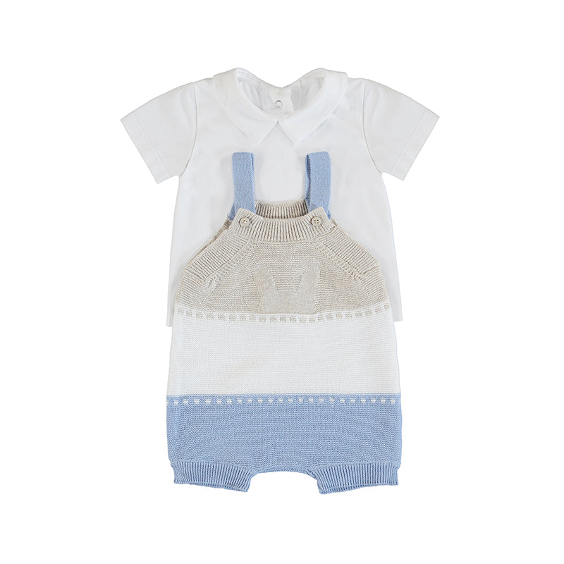 MAYORAL NEWBORN 1638 LIGHT BLUE KNIT DUNGAREE SET