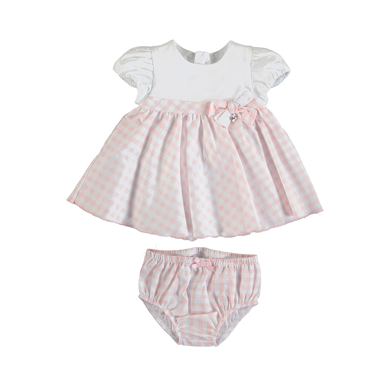 MAYORAL NEWBORN 1803 CANDY GINGHAM PRINT DRESS