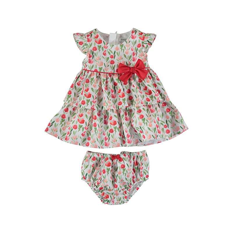 MAYORAL NEWBORN 1831 RED PRINTED DRESS
