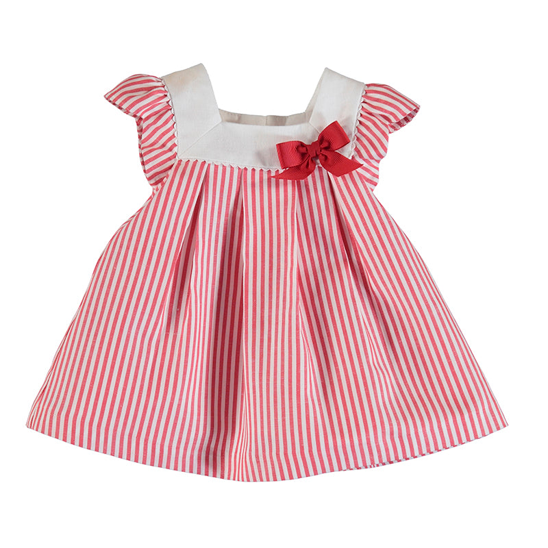 MAYORAL NEWBORN 1832 RED STRIPES DRESS