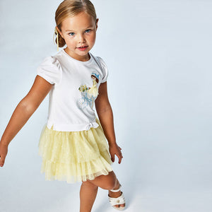MAYORAL 3916 GIRLS Combined tulle dress YELLOW
