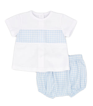 RAPIFE 4514 GINGHAM T-SHIRT AND BLOOMERS SKY BLUE