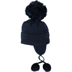 Emile et Rose Griffin Baby Knit Bobble Hat with Ear Flaps Navy