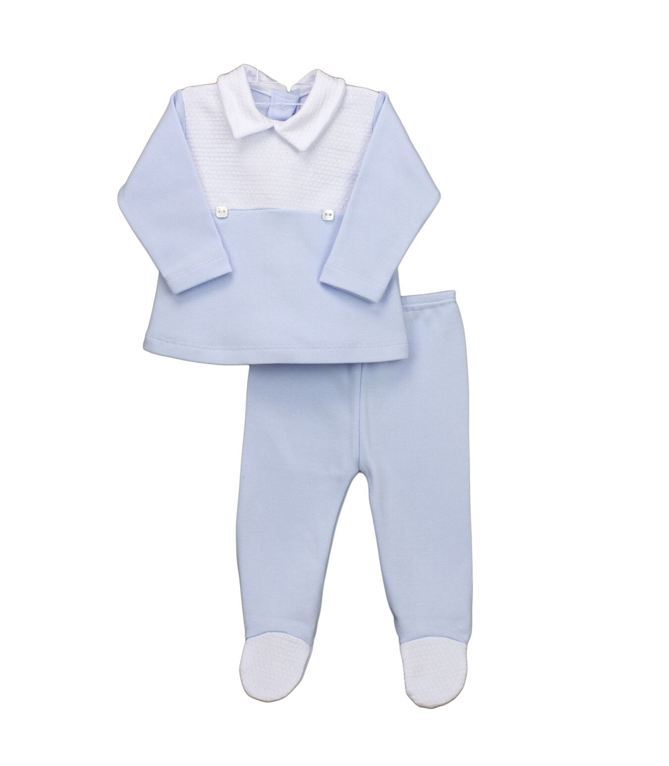 Rapife 4912 Boys 2 Piece Set With Buttons White & Blue