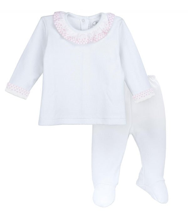 Rapife 854 2 Piece With Feet Batiste Collar Pink