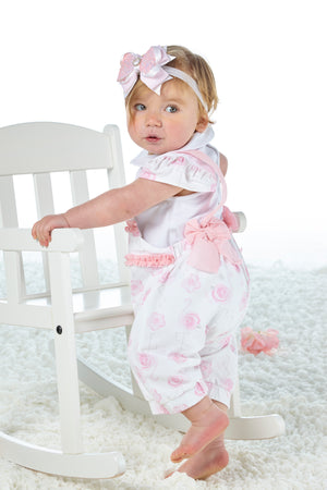 Little A LS21501 Jacy Bright White Flamingo Print Dungaree Set