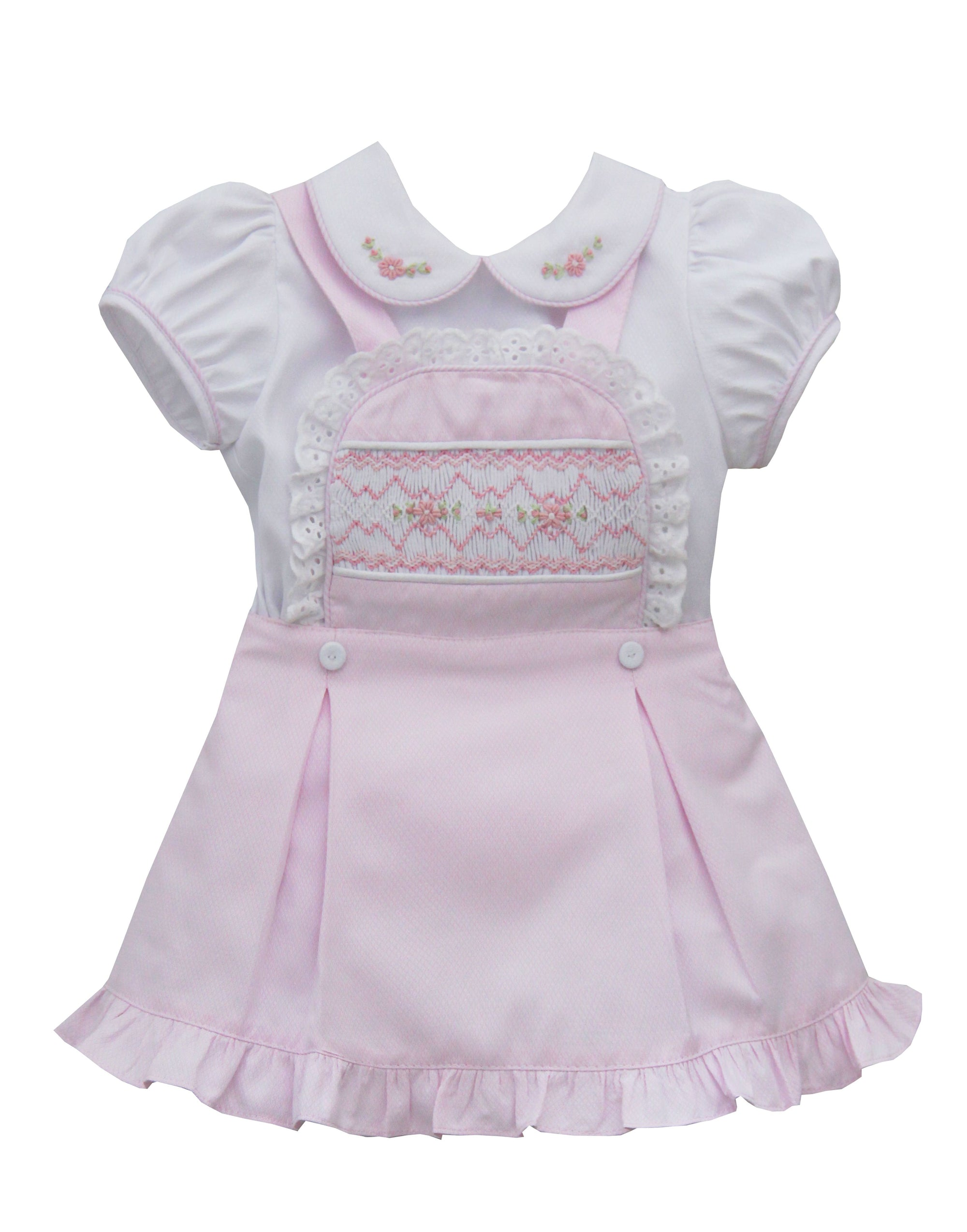 Pretty Originals BD01960 Smocked Dress & Blouse Pink & White