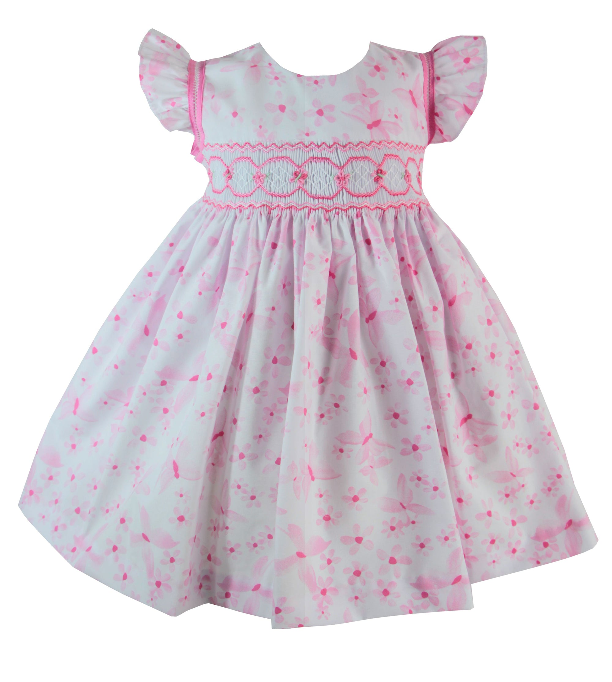 PRETTY ORIGINALS BD02023 FLORAL PRINT DRESS WITH SMOCKED BODICE PINK