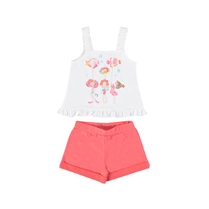 MAYORAL 3219 GIRLS Knit shorts set with shirt CORAL