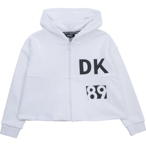 DKNY D35R40 GIRLS  WHITE HOODED CARDIGAN
