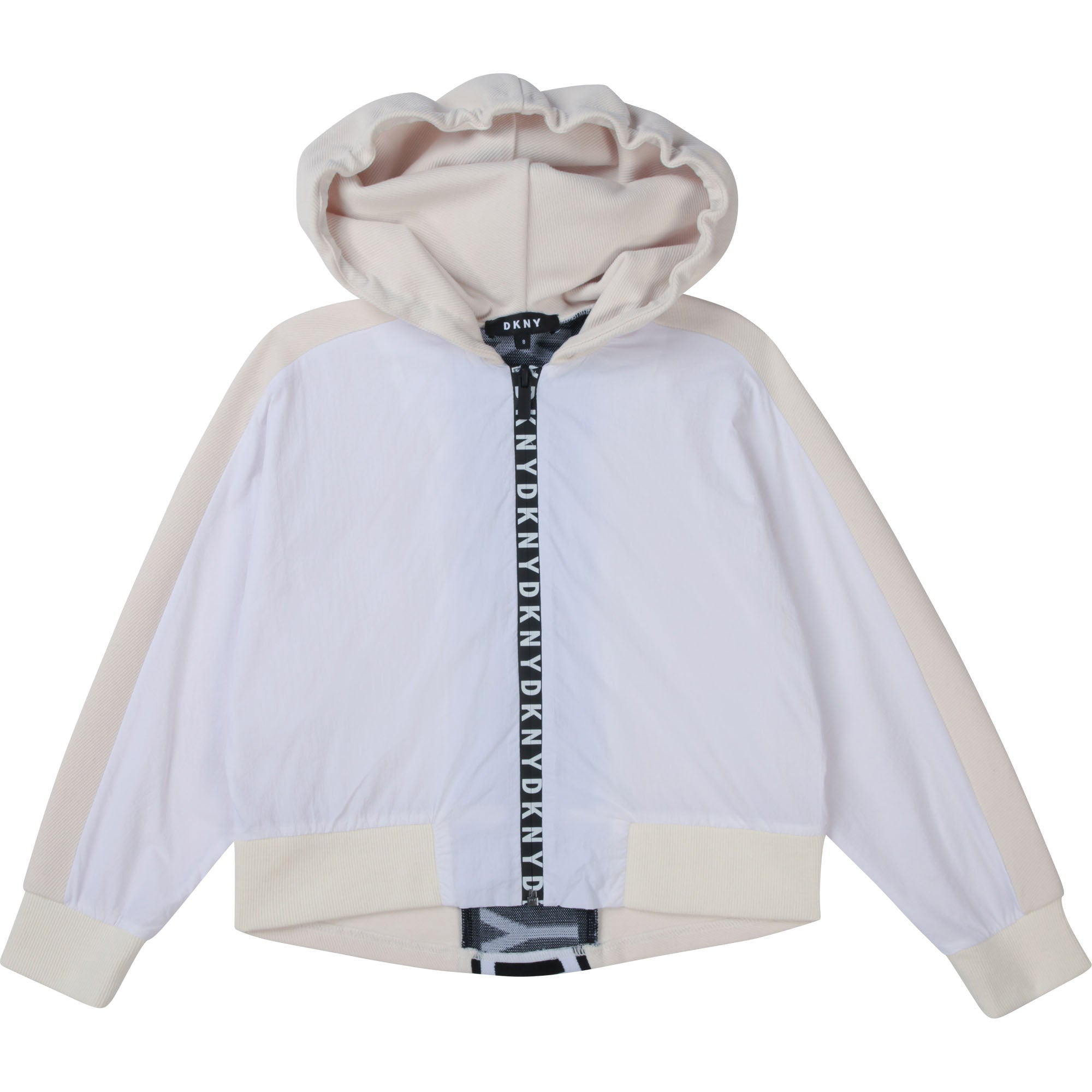 DKNY D35R43 GIRLS  WHITE HOODED CARDIGAN