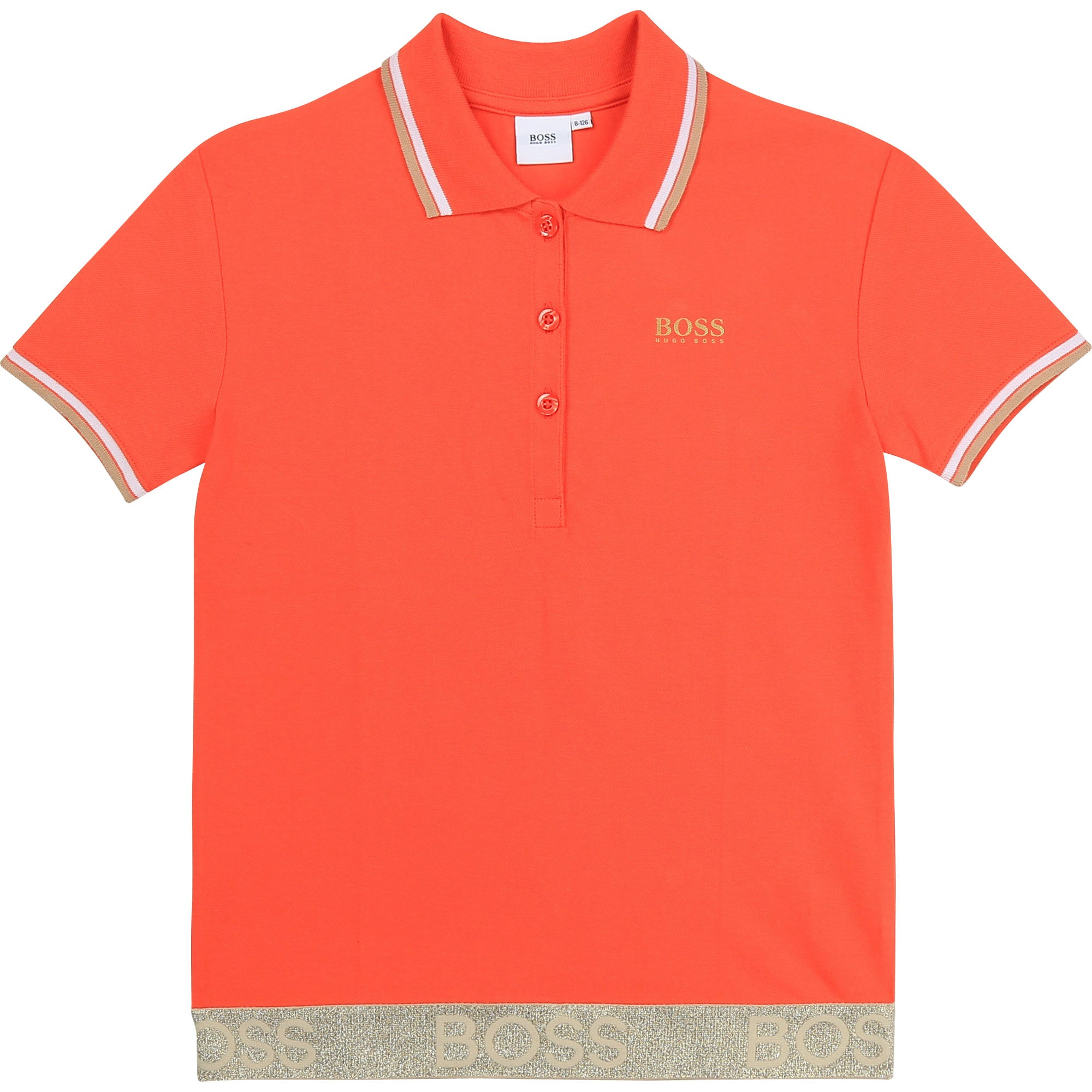 HUGO BOSS J15427 GIRLS SHORT SLEEVE POLO PEACH