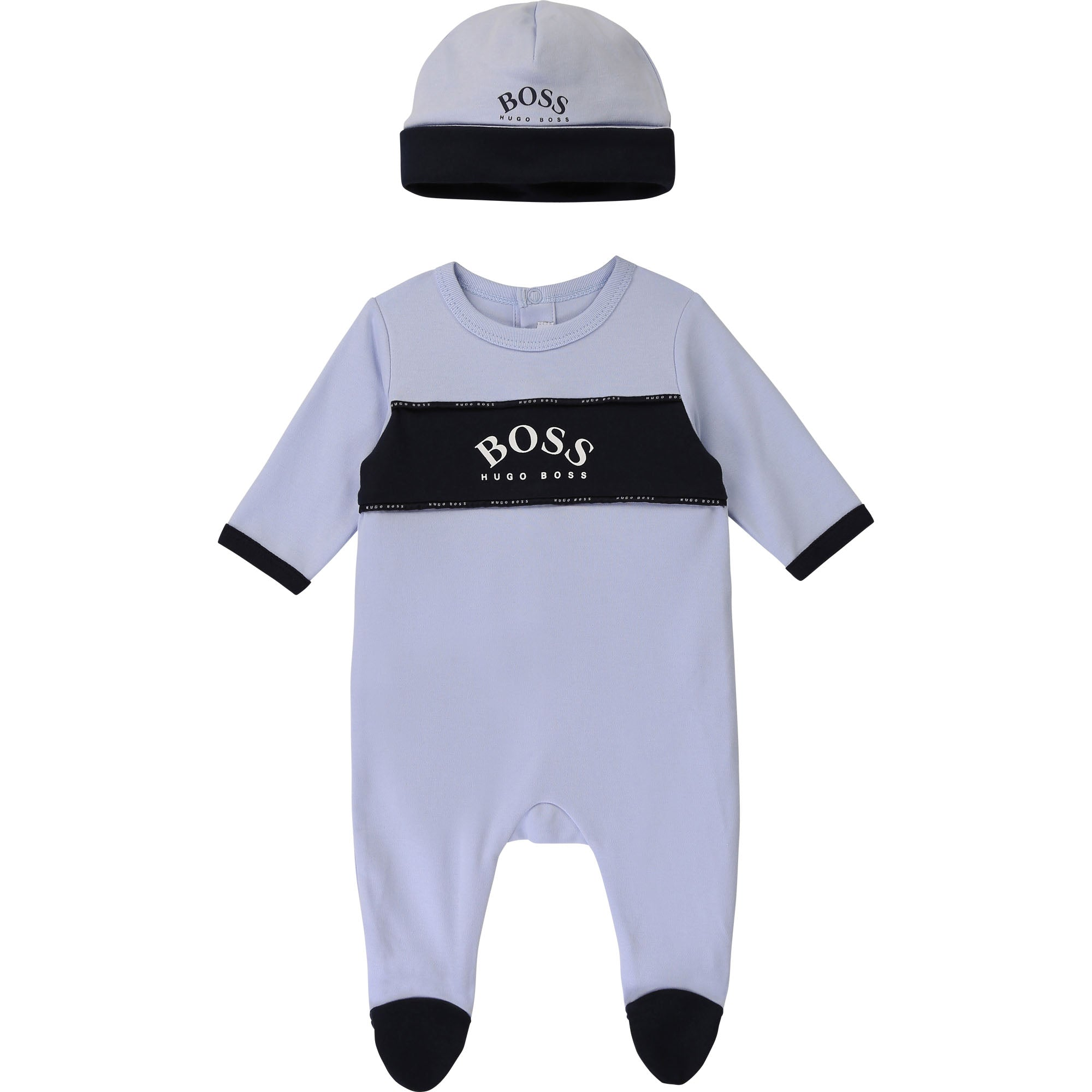 HUGO BOSS J98309 BABY BOY PYJAMAS + PULL ON HAT SET PALE BLUE