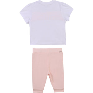 HUGO BOSS J98316 BABY GIRL T-SHIRT AND LEGGINGS SET WHITE