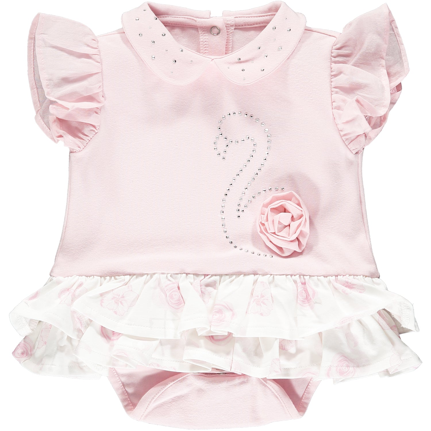 Little A LS21102 Jadine Baby Pink Frilly Flamingo Romper