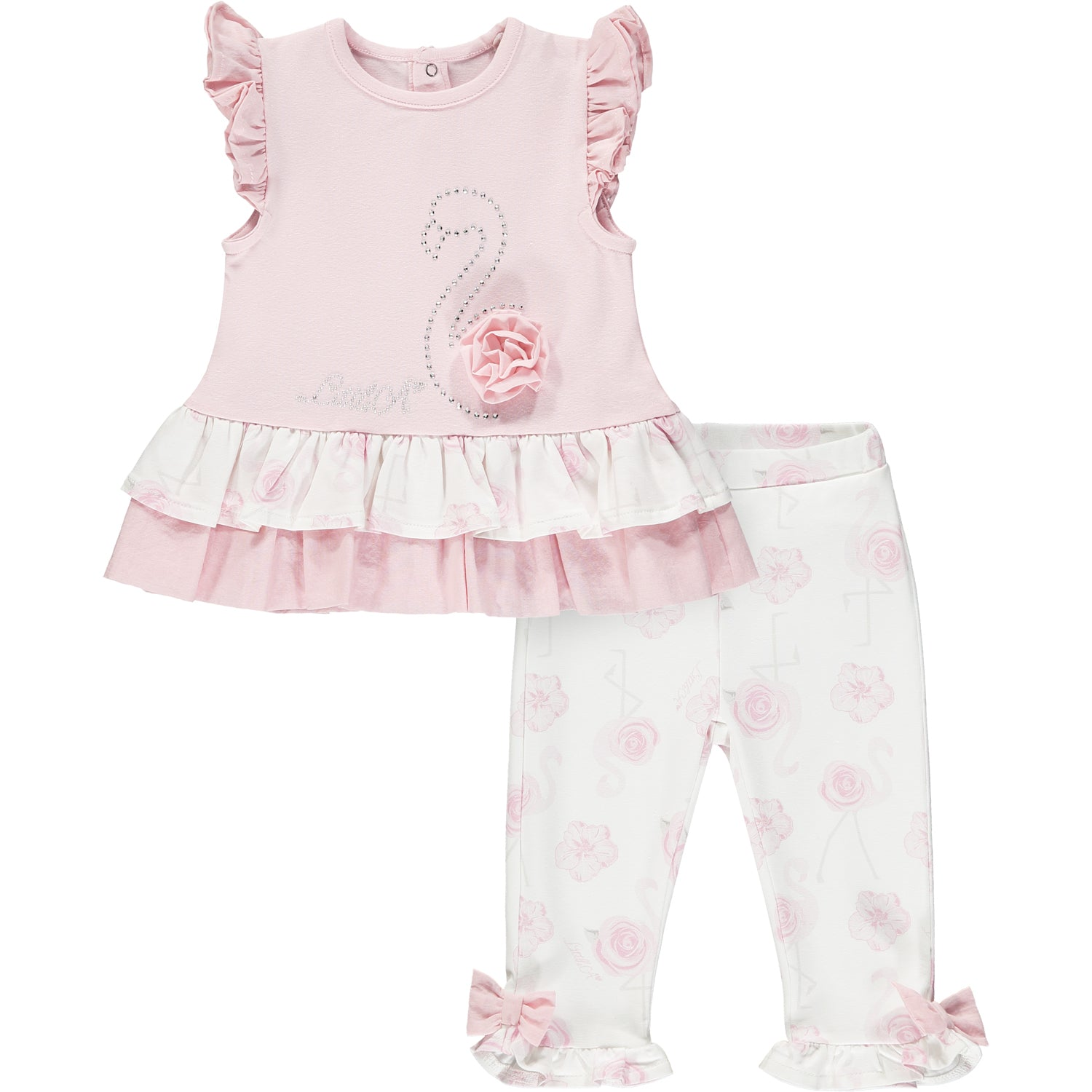 Little A LS21500 Jaffa Baby Pink Flamingo Print Leggings Set