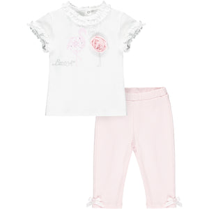 Little A LS21502 Jade Bright White Flamingo Top & Leggings Set
