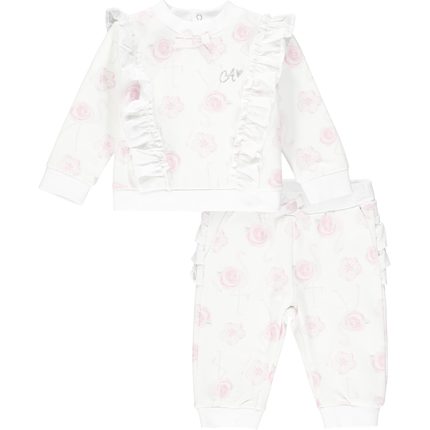Little A LS21503 Jaqueline Bright White Flamingo Print Tracksuit