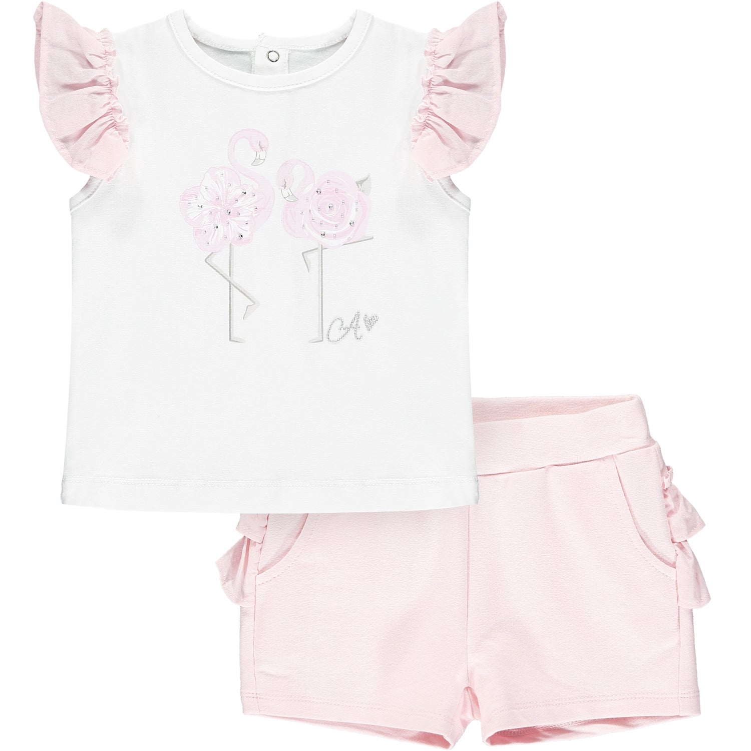Little A LS21504 Jagger Bright White Flamingo Shorts Set