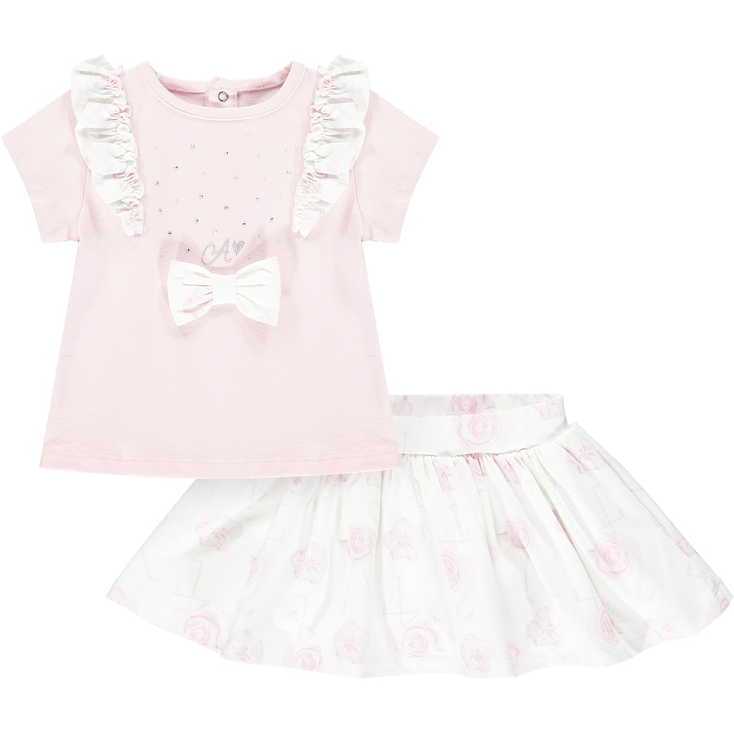 Little A LS21505 Jaimie Baby Pink Flamingo Print Skirt Set