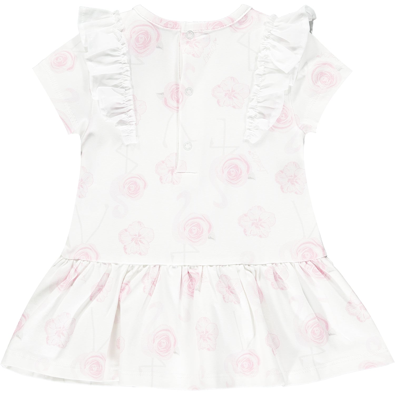 Little A LS21701 Jane Bright White Flamingo Print Dress