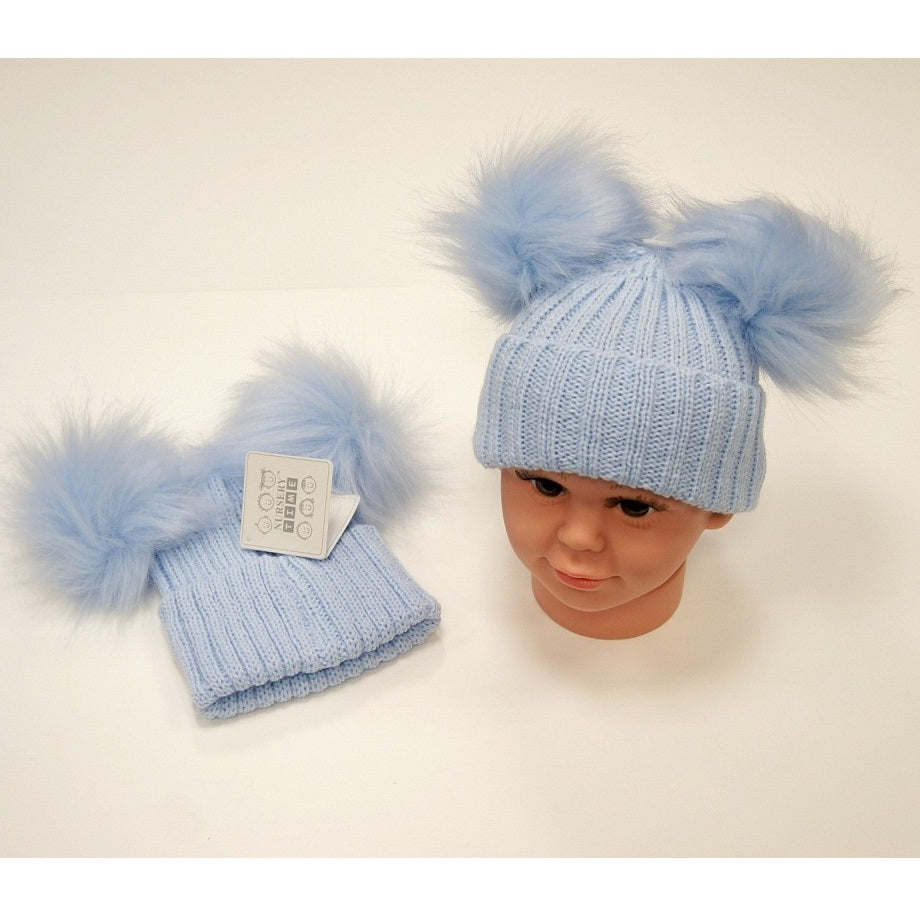 NT Double Pom Pom Hat  Blue