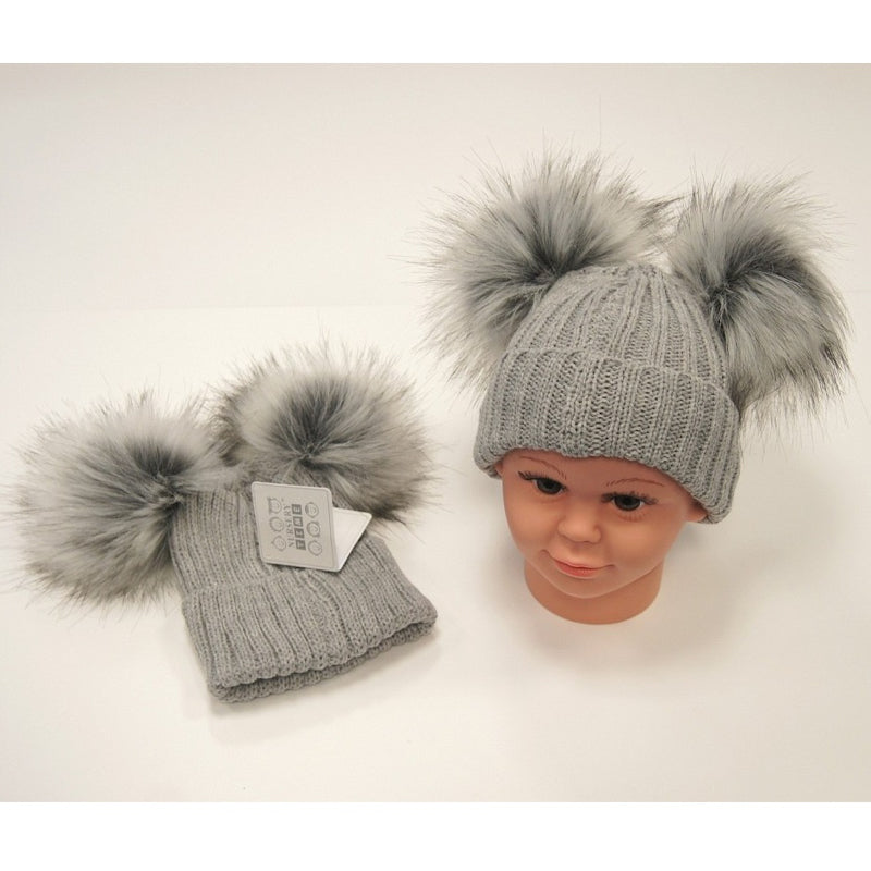 NT Double Pom Pom Hat  Grey