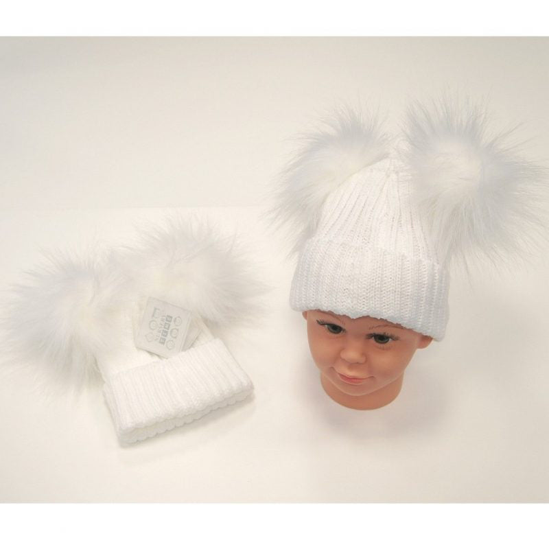 NT Double Pom Pom Hat  White