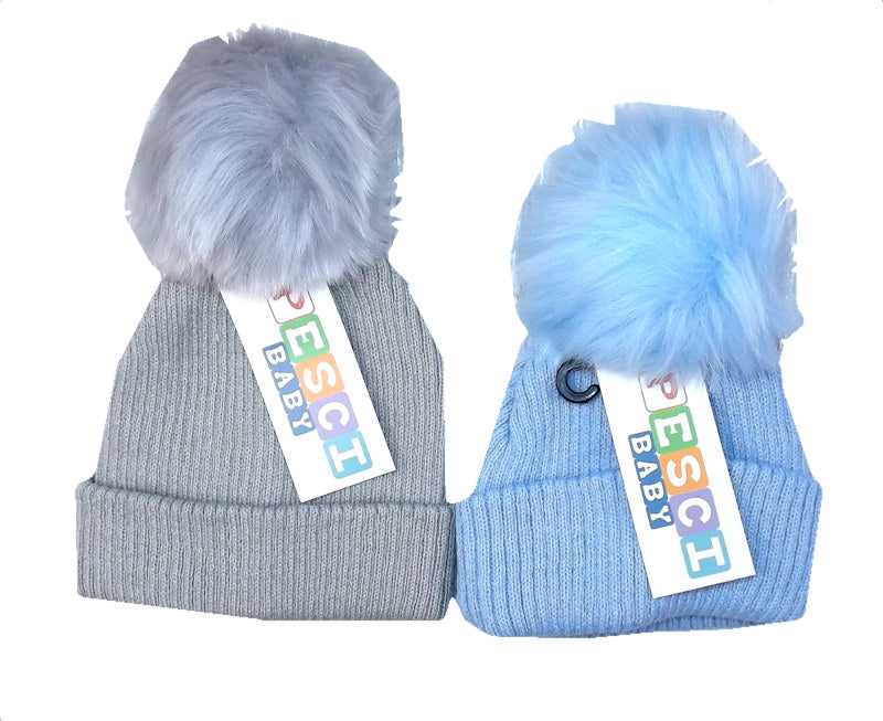 PK Ribbed Hat with Furry Pom Pom Blue