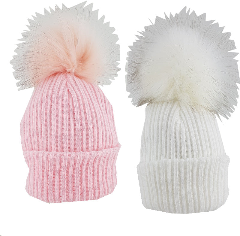 PK Ribbed Hat with Furry Pom Pom White