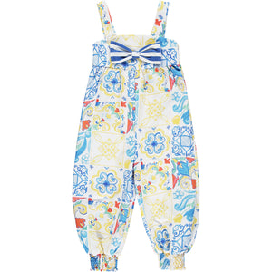 ADEE S211502 LOUISE Portuguese tile dungaree set WHITE