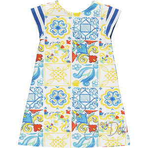 ADEE S211703 LAURA Portuguese tile dress WHITE