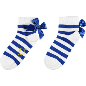 ADEE S211903 LIBBY Stripe bow ankle sock BLUE