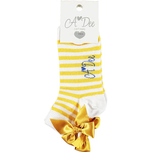 ADEE S211903 LIBBY Stripe bow ankle sock YELLOW