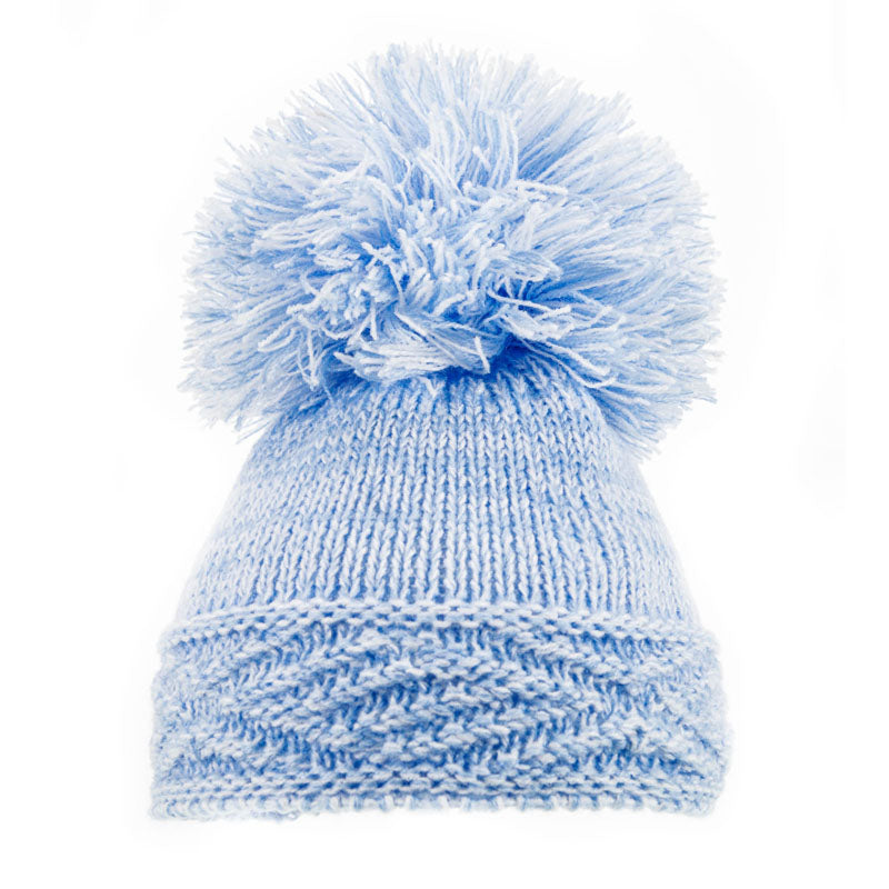 Soft Touch Diamond Pom Pom Hats Blue