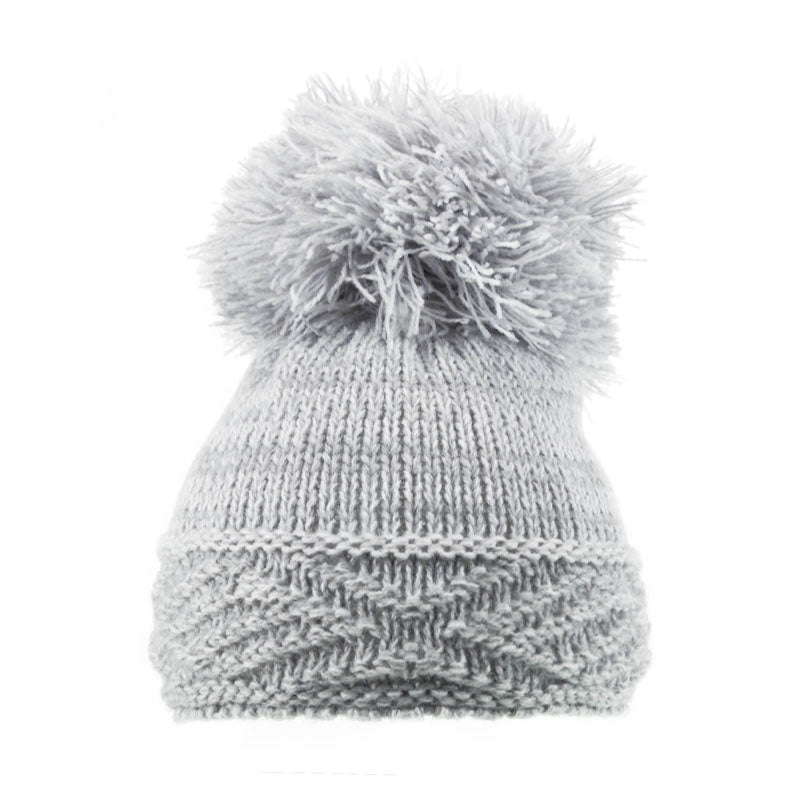 Soft Touch Diamond Pom Pom Hats Grey