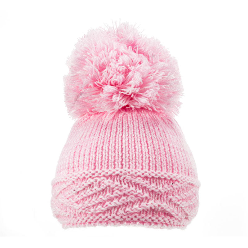 Soft Touch Diamond Pom Pom Hats Pink