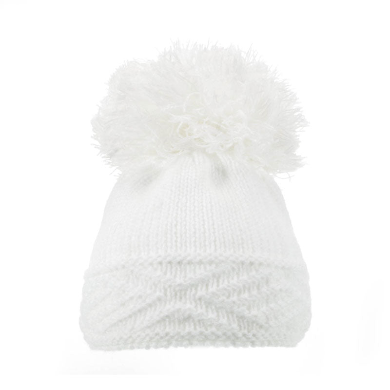 Soft Touch Diamond Pom Pom Hats White