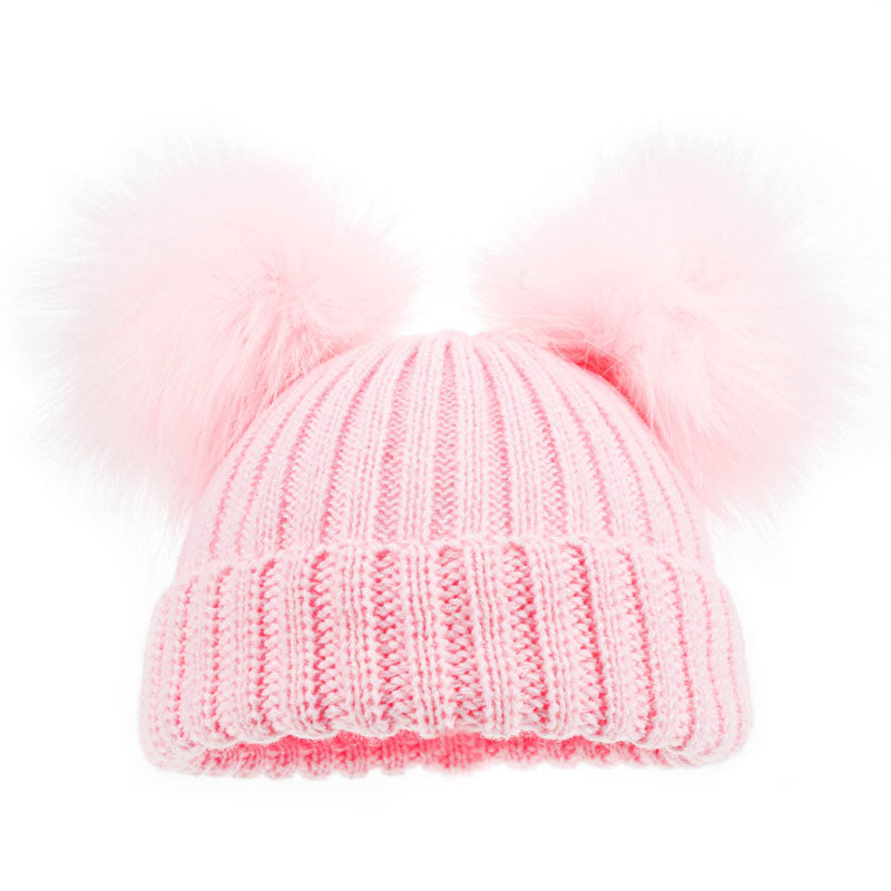 Soft Touch Double Fur Pom Pom Hat Pink