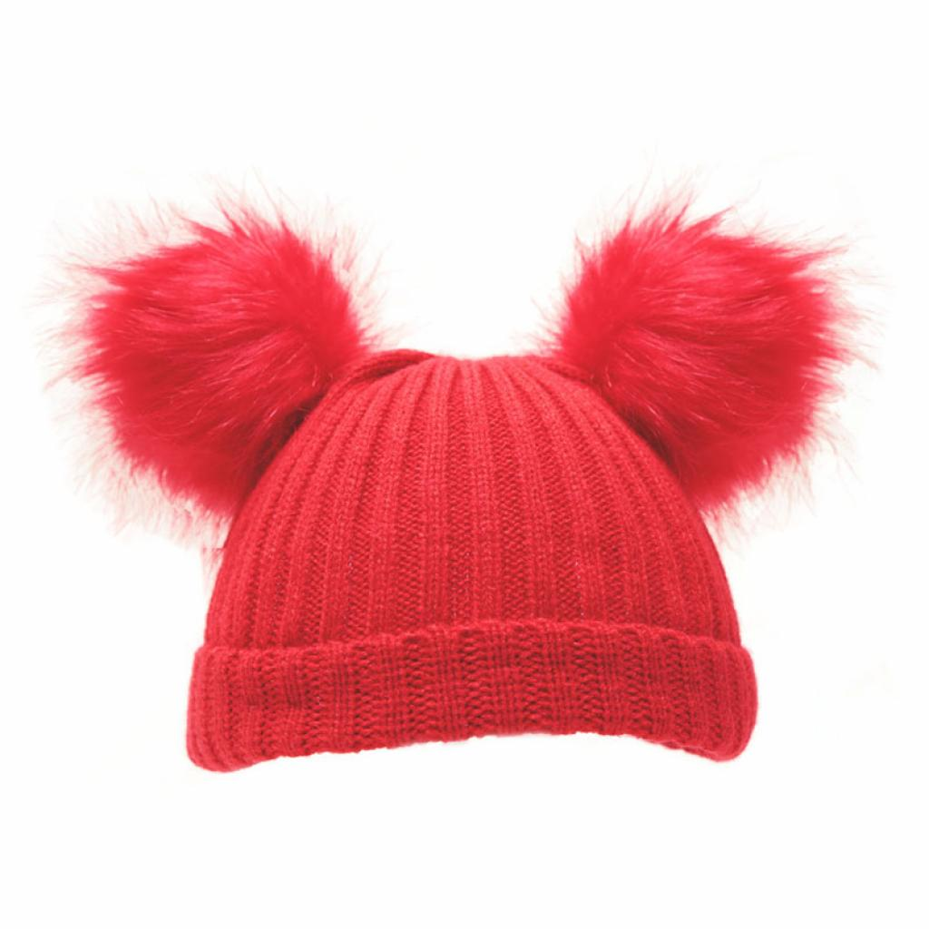 Soft Touch Double Fur Pom Pom Hat Red