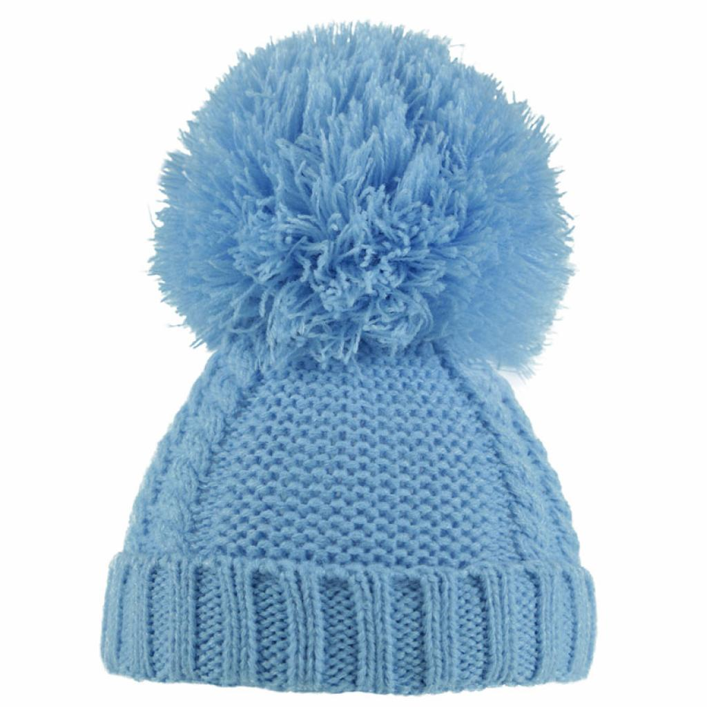 Soft Touch Pearl & Cable Knit Pom Pom Hat Blue