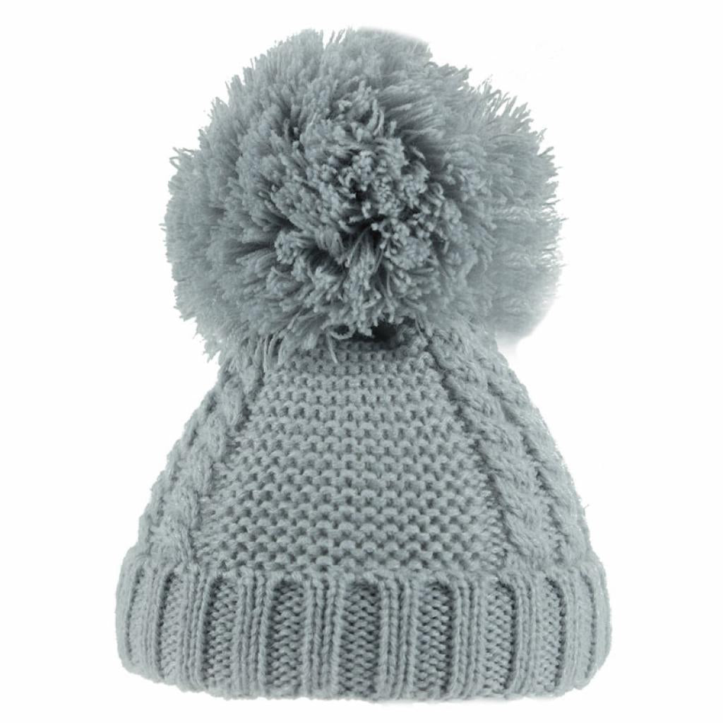 Soft Touch Pearl & Cable Knit Pom Pom Hat Grey