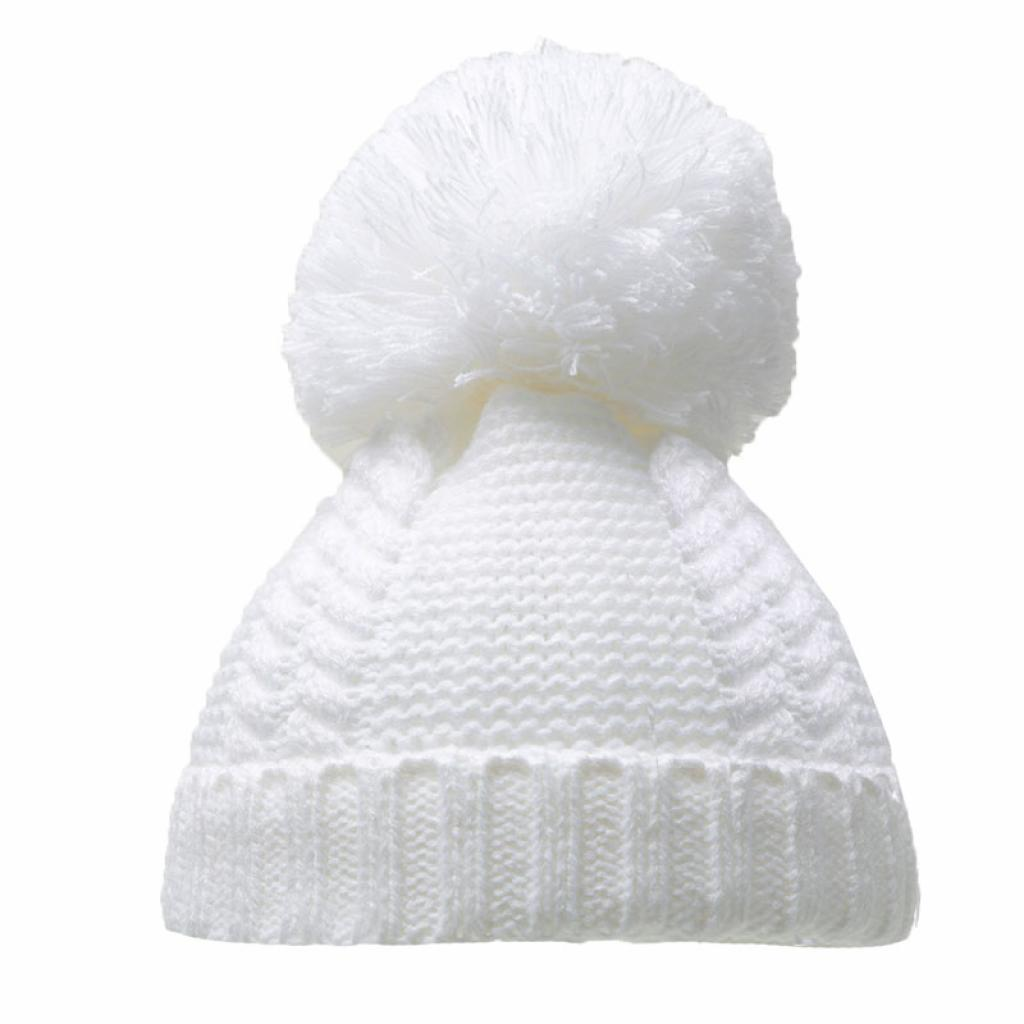 Soft Touch Pearl & Cable Knit Pom Pom Hat White