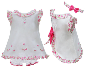Pretty Originals BD01943 Dress & Bloomers White & Floral