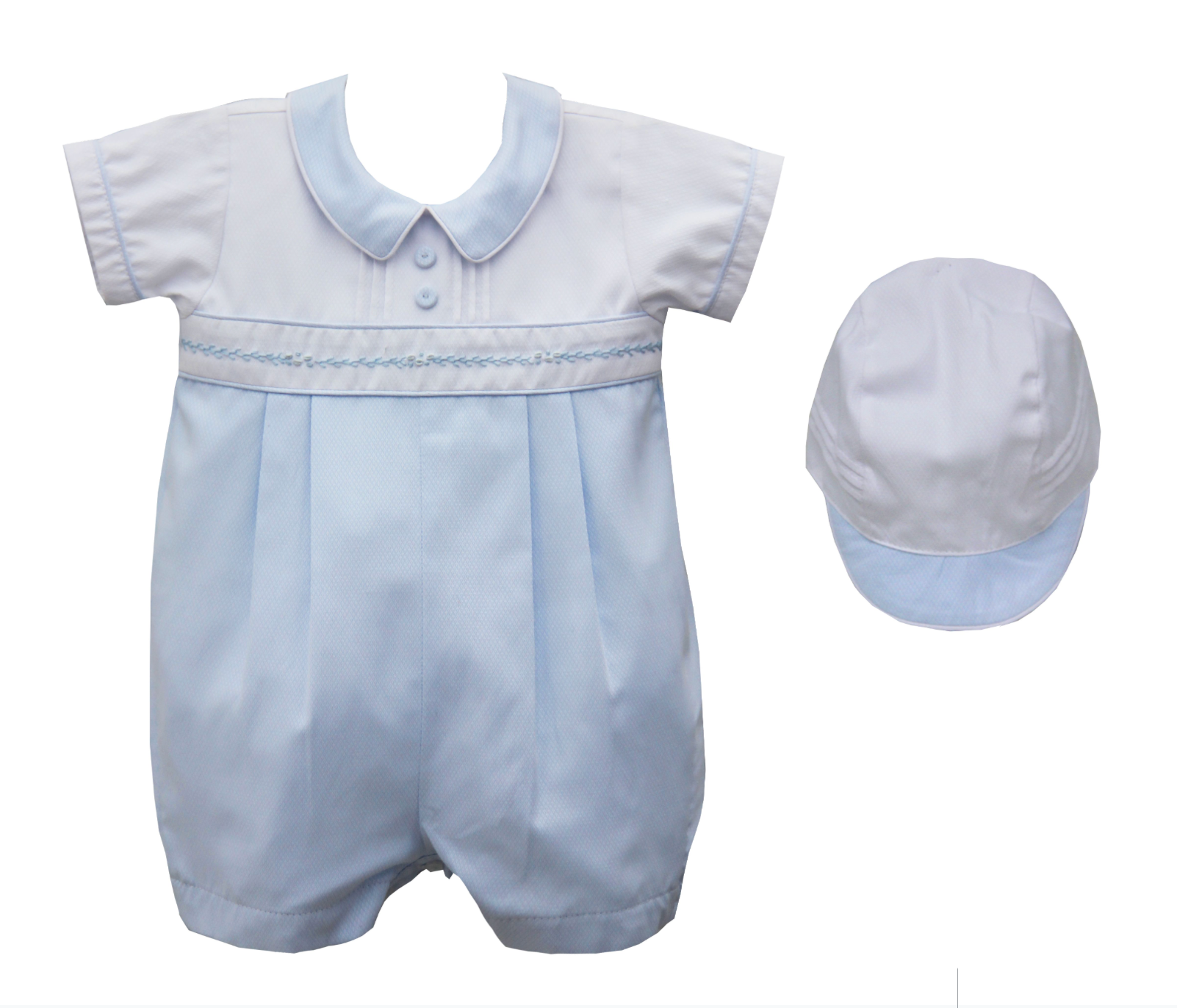 Pretty Originals DL61973 Romper & Hat Blue & White