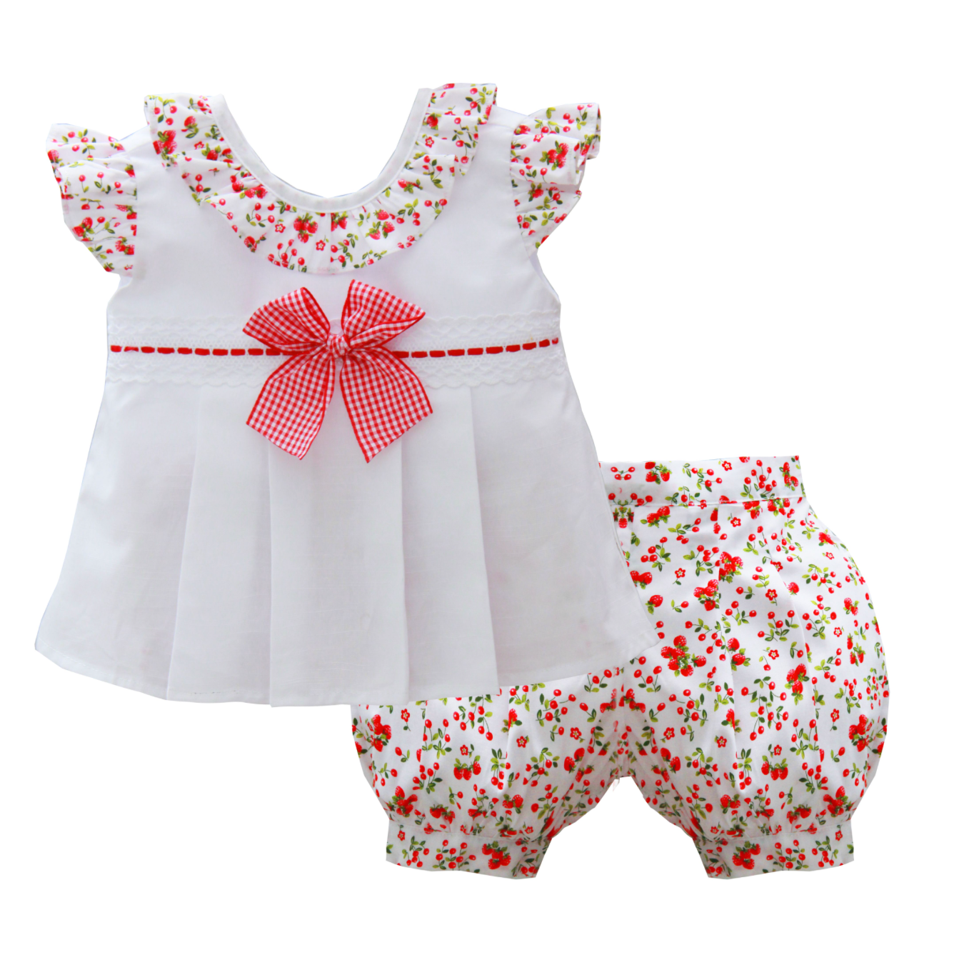 Pretty Originals MT02024 Top & Bloomers White & Red Berry Print